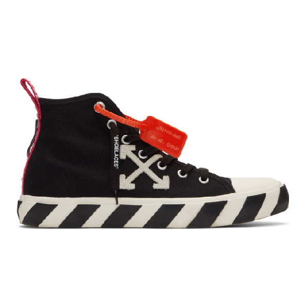 Off-white Diag Vulcanised Black Canvas Hi-top Sneakers In 1001 Blkwht