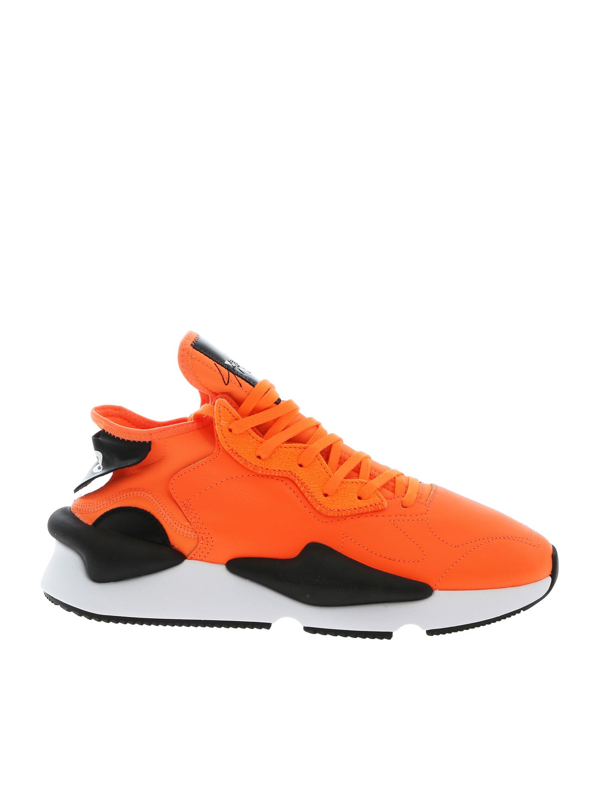 Y-3 Kaiwa Sneaker In Technical Fabric And Fluorescent Orange Leather