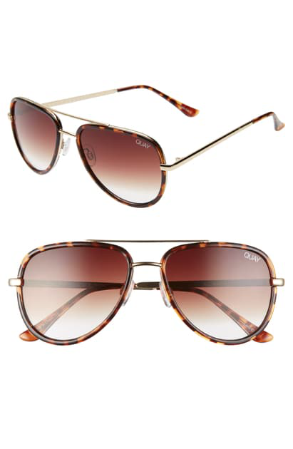 Quay All In 52mm Mini Aviator Sunglasses In Tortoise/ Brown Fade
