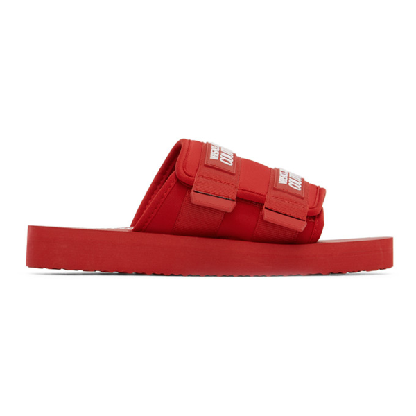 Versace Jeans Couture Men's Slippers Sandals Rubber In E500 Red