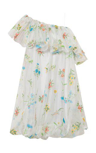 Anna October Inna Floral-print Organza One-shoulder Mini Dress