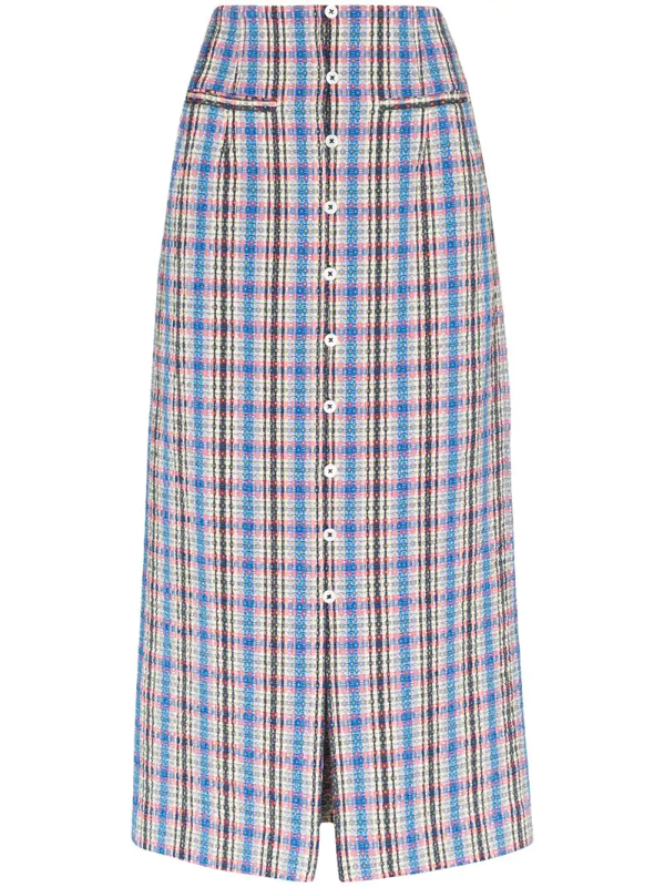 Rosie Assoulin Checked Cotton-blend Jacquard Midi Skirt In Blue