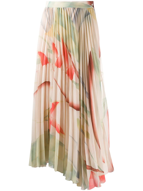 Etro Foliage Print Pleated Skirt In Neutrals