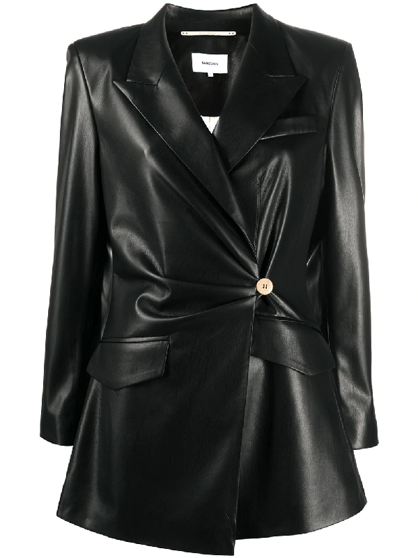 Nanushka Blair Vegan Leather Fitted Blazer In Black