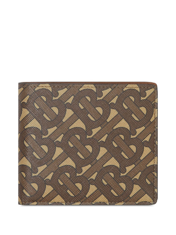 Burberry Monogram Print E-canvas International Bifold Wallet In Bridle Brow