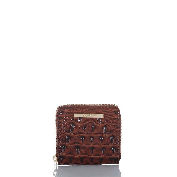 Brahmin Mini Suri Melbourne Embossed Leather Wallet In Pecan/gold