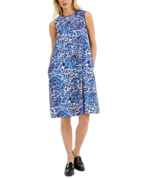 Weekend Max Mara Printed Sleeveless Shift Dress In Blue