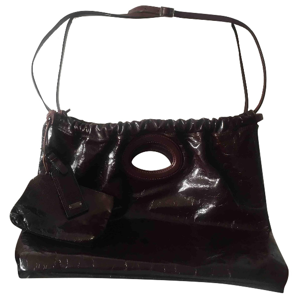 Daniele Alessandrini Brown Patent Leather Handbag