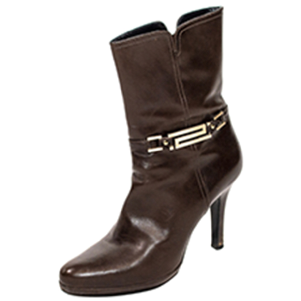 Versace Brown Leather Ankle Boots