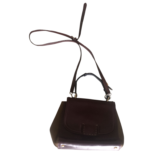 Fendi Silvana Burgundy Leather Handbag