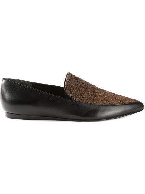 Vince Nikita Pointed-Toe Calf-Hair/Leather Loafer, Black In Black/White/Black