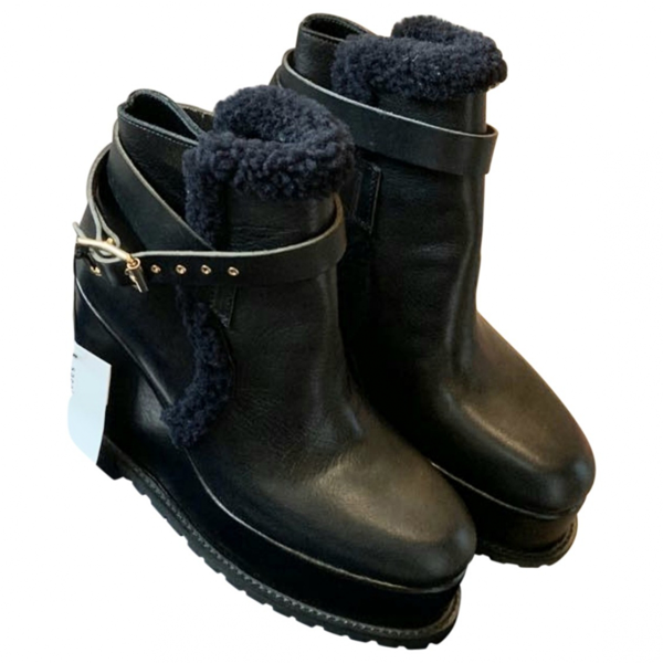 Pre-owned Sacai Black Leather Ankle Boots