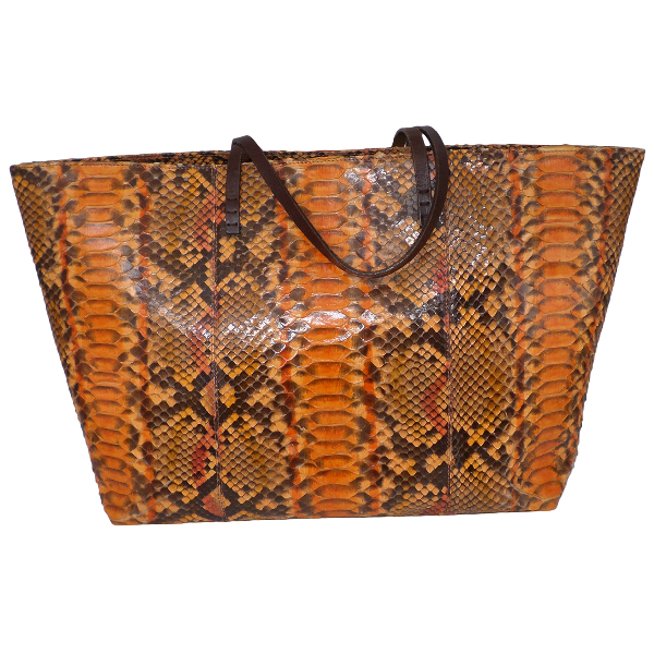 Fendi Roll Bag  Orange Python Handbag