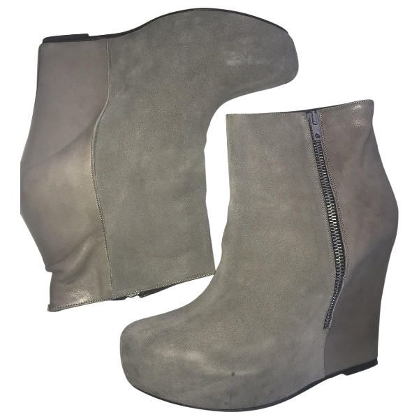 American Retro Grey Leather Ankle Boots