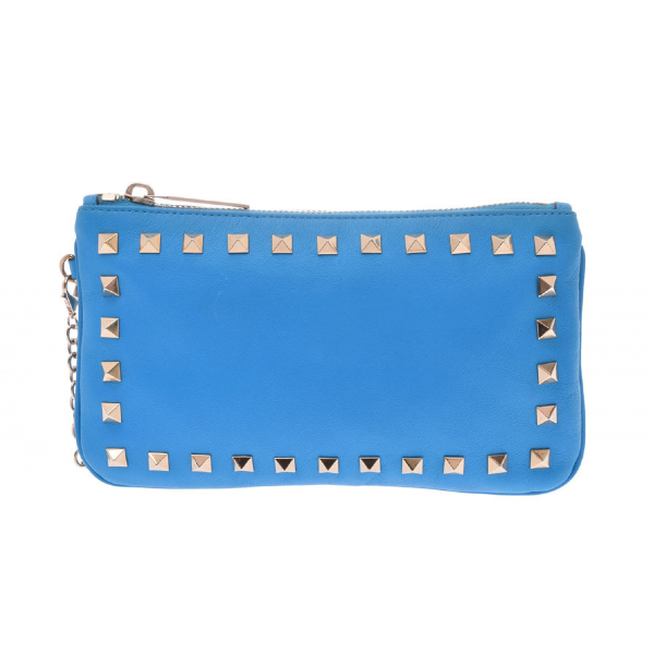Valentino Garavani Rockstud Blue Leather Clutch Bag