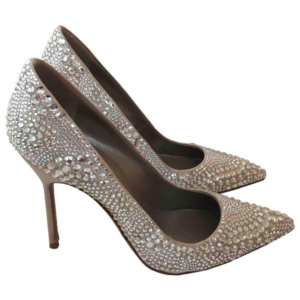 Manolo Blahnik Gold Glitter Heels