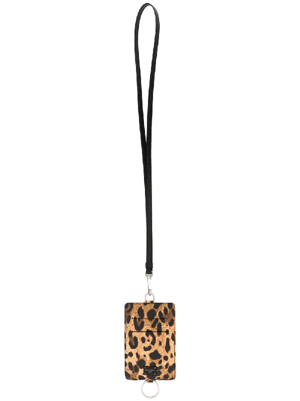 Dolce & Gabbana Black Leopard Print Leather Card Holder In Yellow