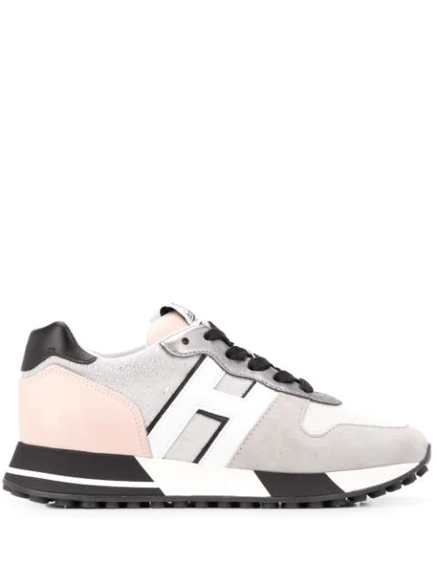 Hogan Running Sneakers In Mesh Leather And Suede In Grey