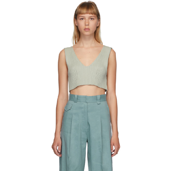 Low Classic Sleeveless Rib Knit Crop Top In Mint