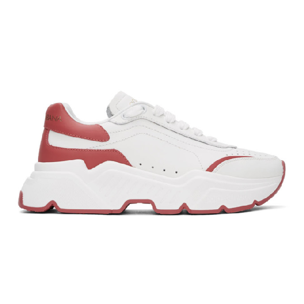 Dolce & Gabbana Daymaster Nappa Leather Sneakers In White/fuchsia
