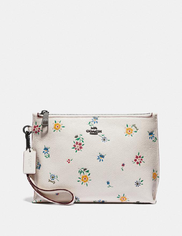 Coach Charlie Pouch With Wildflower Print - Women's In Pewter/chalk