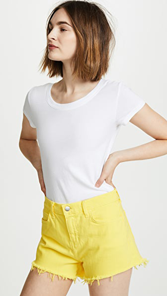L Agence L'agence Ressi Cap-sleeve Tee In White