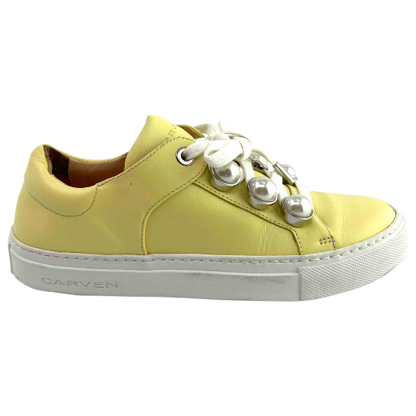 Carven Yellow Leather Trainers