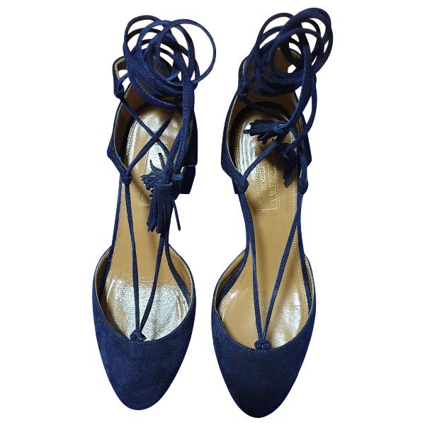 Aquazzura Blue Suede Sandals