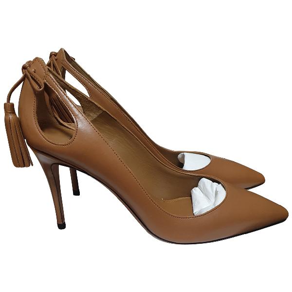 Aquazzura Camel Leather Heels
