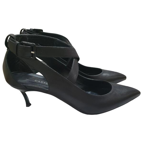 Casadei Black Leather Heels