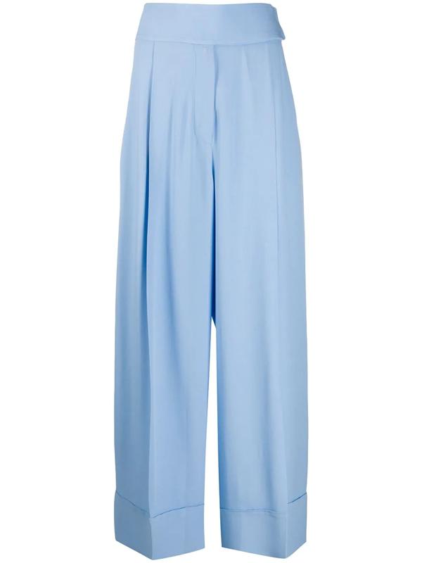 Sara Battaglia Crepe Wide-leg Trousers In Blue