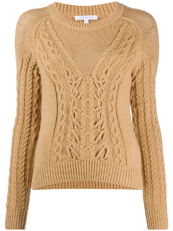 Patrizia Pepe Woven Knitted Crew Neck Sweater In Neutrals