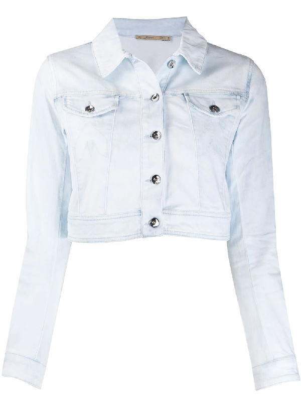 Patrizia Pepe Bleached Effect Denim Cropped Jacket In Blue