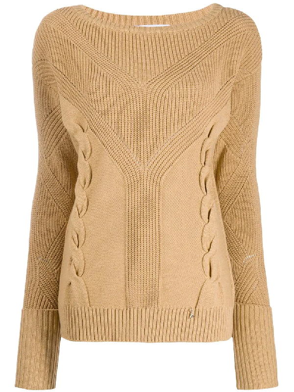 Patrizia Pepe Knitted Cotton Blend Round Neck Sweater In Neutrals