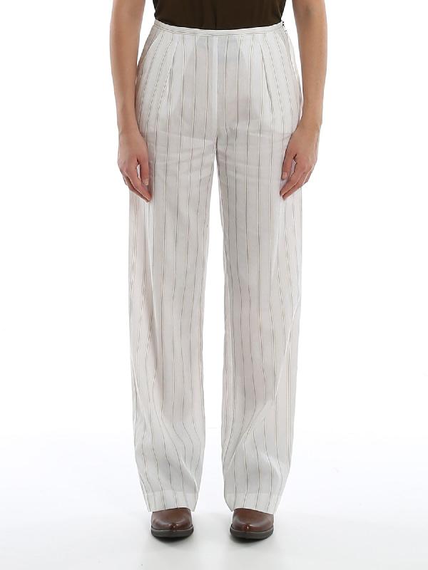 Patrizia Pepe Cotton Linen And Viscose Blend Pants In White