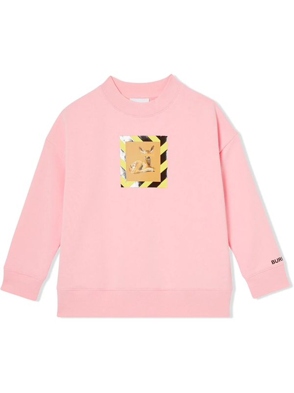 Burberry Girls' Carrie Deer Print Sweatshirt - Little Kid, Big Kid In Pink