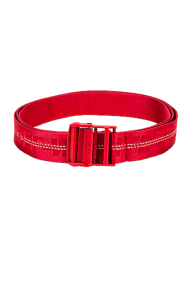 Off-white Cintura Industrial Classic In Jacquard Con Logo In Red