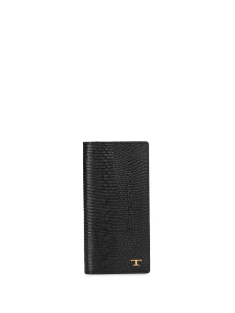Tod's T-logo Breast Pocket Wallet In Black