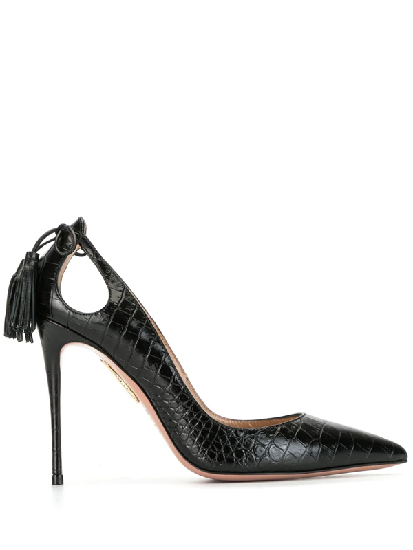 Aquazzura Women's Forever Marilyn Cutout Croc-embossed Leather Pumps In Black