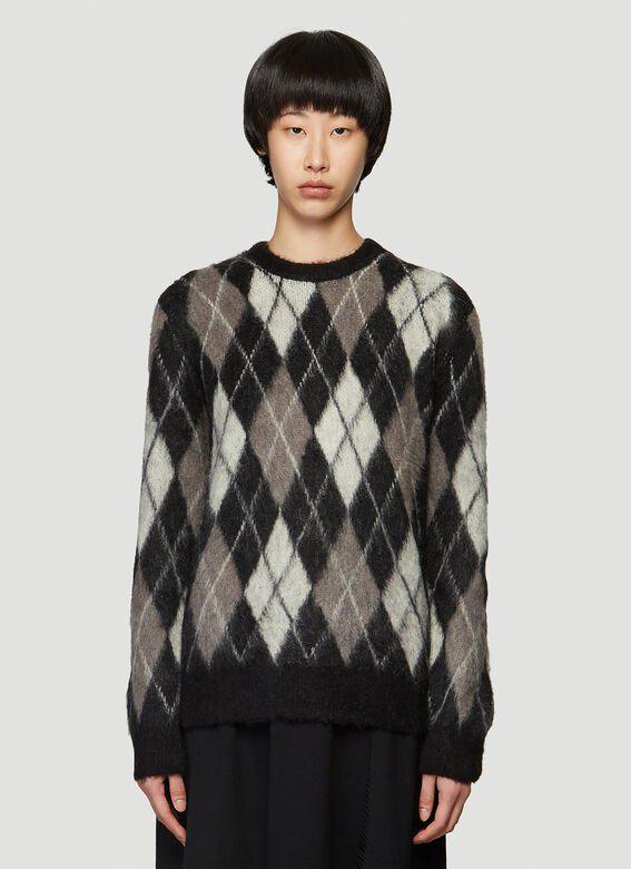 Pringle Of Scotland Monochrome Argyle Sweater In Black