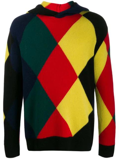 Pringle Of Scotland Harlequin Argyle Hooded Sweater In Black