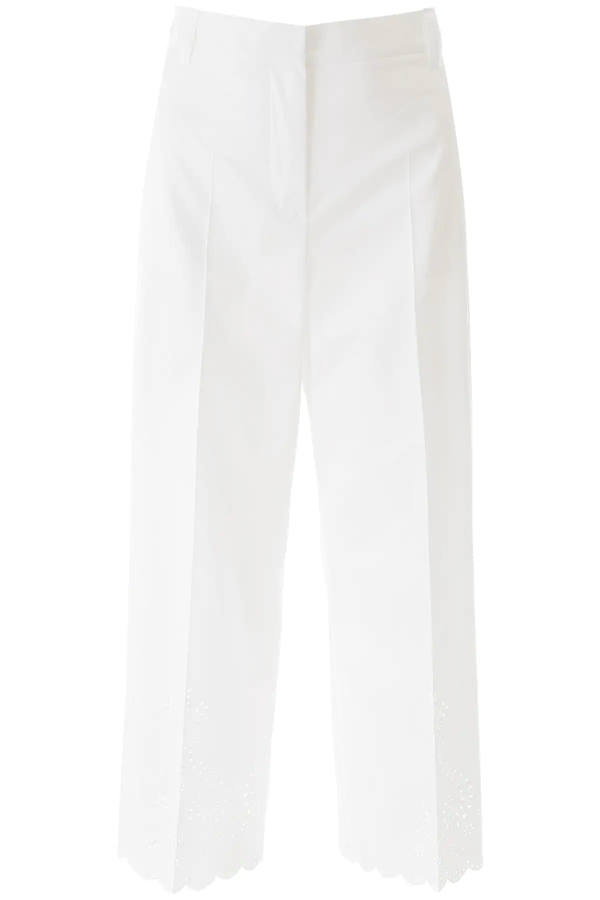Weekend Max Mara Laser-cut Trousers In White