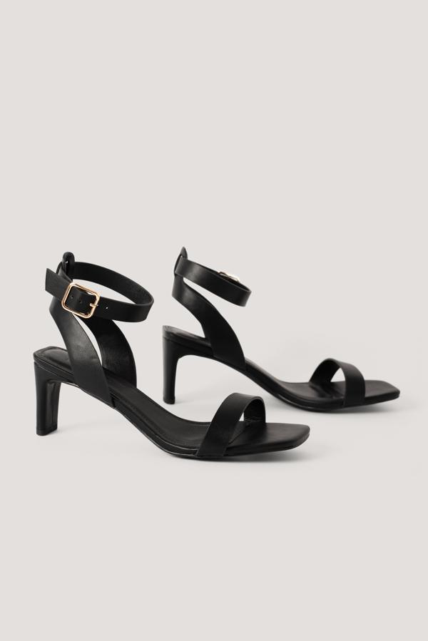 Na-kd Basic Squared Heel Sandals Black
