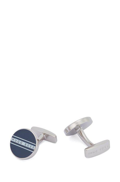 Hugo Boss - Round Cufflinks With Stripe And Logo - Dark Blue