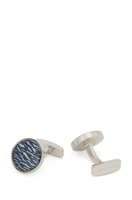 Hugo Boss - Round Cufflinks With Seasonal Print - Light Blue