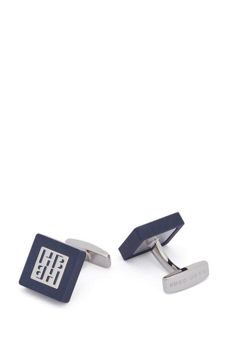 Hugo Boss - Square Cufflinks In Matte Enamel With New Season Monogram - Dark Blue