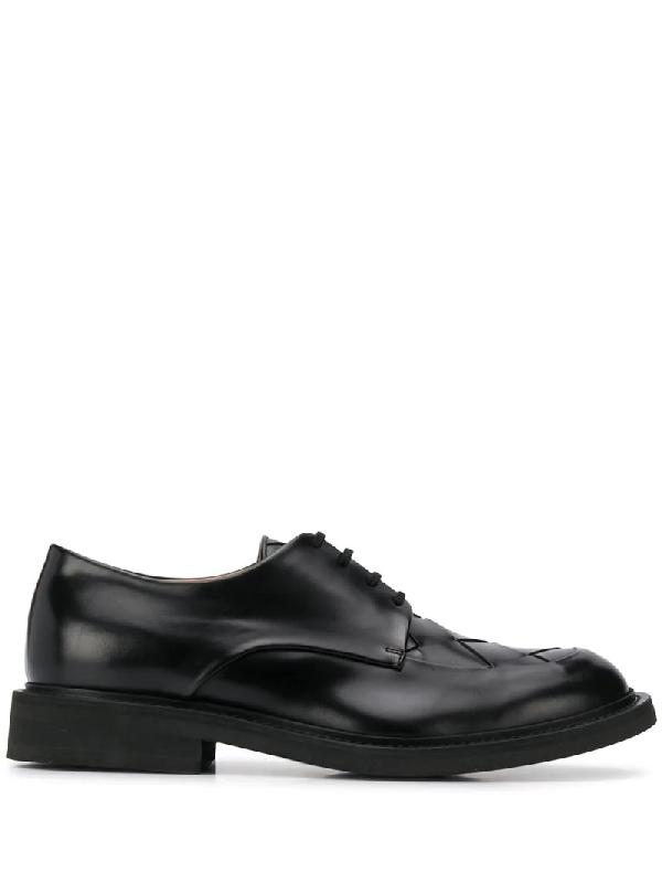 Bottega Veneta Intrecciato Weave Detailed Derby Shoes In Black