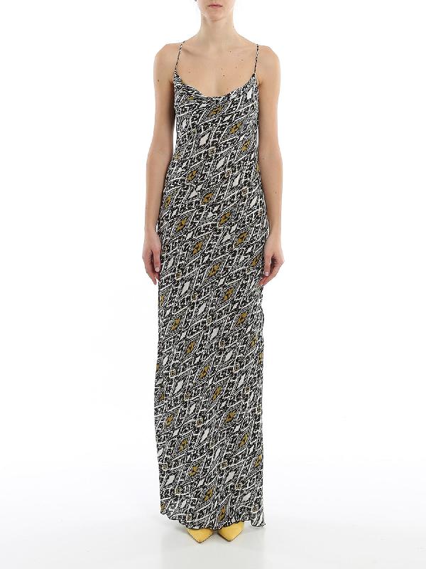 Patrizia Pepe Ikat Long Dress In Grey