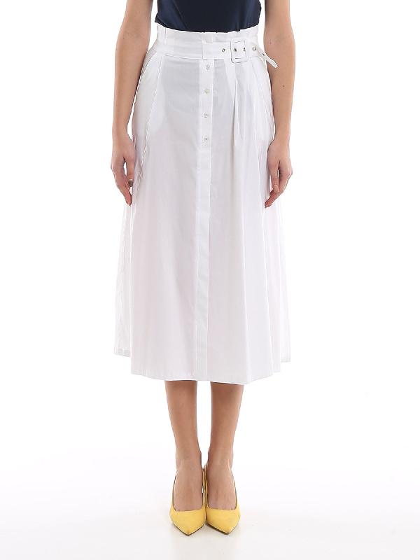 Patrizia Pepe Jersey Skirt In White