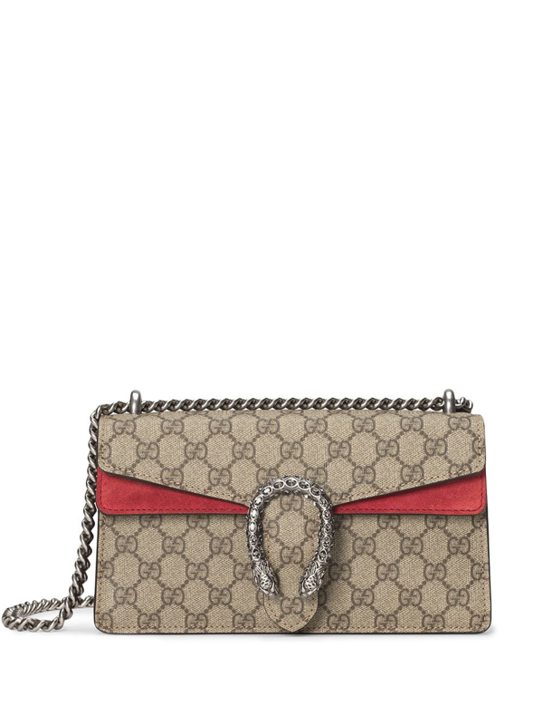 Gucci Brown Dionysus Gg Supreme Small Shoulder Bag In Gg Supreme And Red Suede